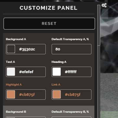 Customize Panel